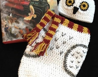 Snowy Owl Cocoon Hedwig Inspired White Owl Crochet Hat Beanie Harry Potter Newborn Baby Photo Prop Costume Gryffindor Hogwarts Scarf Scarves