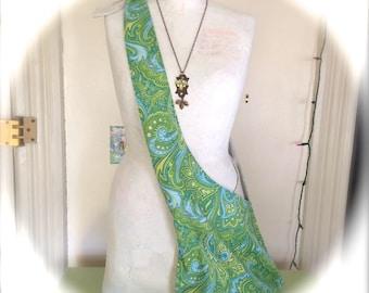 Adjustable Washable Green and Blue Paisley Boho Hobo Bag