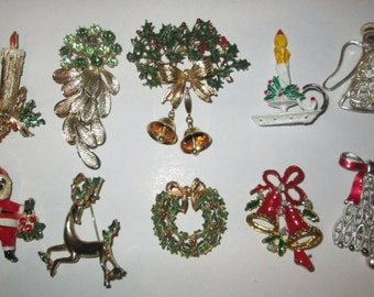 Ten Vintage Christmas Pins Brooches