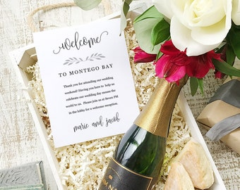 Wedding Welcome Note, Printable Wedding Welcome Bag Letter, Thank You, Rustic Calligraphy, Itinerary, Agenda, Hotel Card - INSTANT DOWNLOAD
