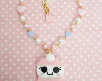 Winter Spirit of Cute Necklace in Pink with Pastel Hearts Ghost Kawaii Fairy Kei /Lolita/ Creepy Cute/ Pastel Goth