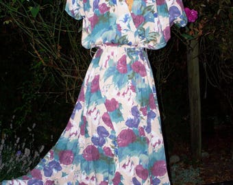 70s/80s teal blue, mulberry and plum floral surplice bodice and swirl~skirted midi dress