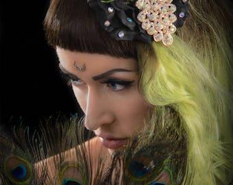 Peacock Fantasy Showgirls Delight - Hair Flower - Rose - Black - Glamour -  Burlesque - Retro - 40s - 50s