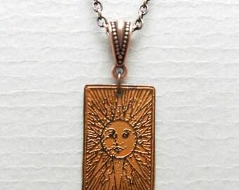 Etched Copper Sun Burst Necklace