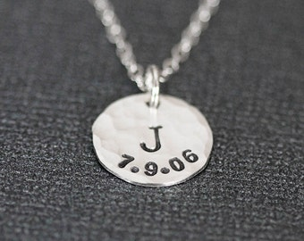 Birthdate Initial Necklace, New Mommy Necklace, Gift for New Mom Necklace, Personalized Initial and Date, Sterling Silver