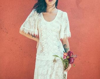 Vintage drop waist lace dress