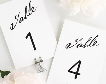 Modern Calligraphy Table Numbers - 5x7""