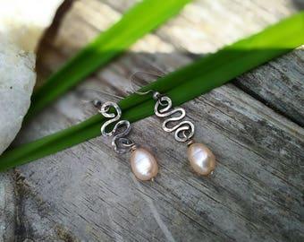 Pink Pearl & Hammered Sterling Earrings