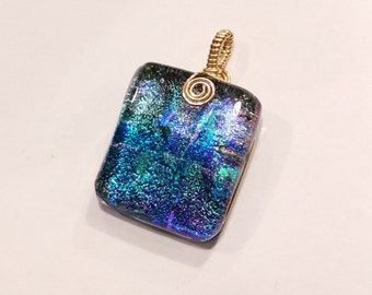 Blue Dichroic Fused Glass Pendant with Gold Filled Wire Wrap - Cyberlily