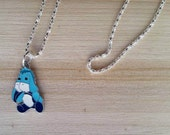 Blue Eeyore Donkey Pendant, Sad Winnie the Pooh Friend, Friends of Pooh Charm Necklace, Gifts for Girls, Fashion Accessories, Bracelet Charm