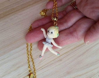 Precious Moments Ballerina Necklace - Vintage Ornament Necklace - Pink Girls Gifts - I love Dance