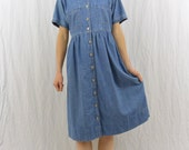Vintage Denim Dress, Size Small-Medium, Babydoll Dress, Mori Girl, Forest Girl, Kawaii, Hipster, Indie Clothing, Grunge, My So Called Life