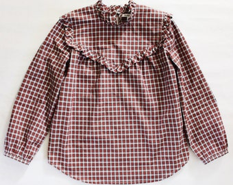 Red Plaid Ruffle Blouse / Long Sleeve Pullover / 1970's Victorian Style / Made To Order
