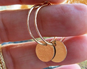 Gold Charmed Hoop Earrings, , Handmade Hoops, Gold Creoles