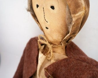 Primitive Style Grey Haired Old Woman Stuffed Doll Folk Art