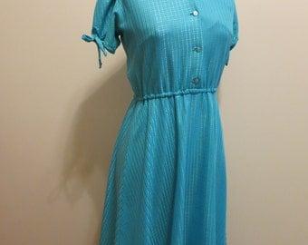 Dress teal peacock blue shirtdress check plaid BOW darling sheer picnic 1970s vintage S