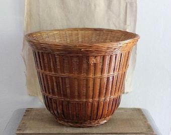Vintage Woven Rattan Bamboo Basket Planter