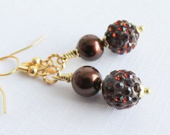 Brown pearl earrings, dangle earrings, brown pearl jewelry, gold earrings, gold plated jewelry, for her