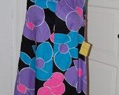 60s Dress, Mod, Trapeze, Deadstock, Huge Floral, Pink, Turquoise, Purple, Tent Dress, Size S/M/L