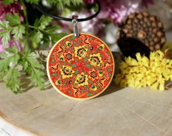 Golden Red Flowers, Khokhloma, Russian Folk Art Necklace