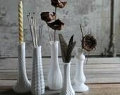 5 Vintage Milk Glass Vases / Candle Holders - No. 1