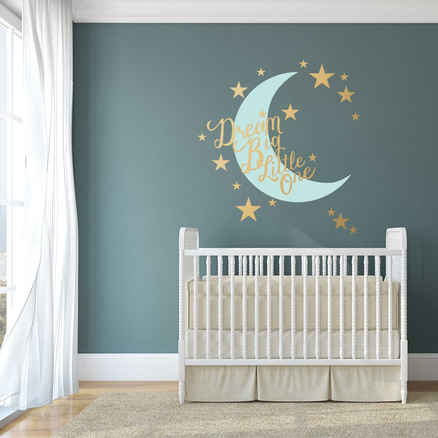 stars and moon nursery wall decal dream big little one. Black Bedroom Furniture Sets. Home Design Ideas