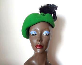 1940s Green Beret with Black Feathers - vintage avant garde hat - art deco accessory