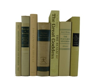 Shades of  Tan  and Green  Vintage Decorative Books Book Decor