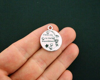 4 I Love You to the Moon and Back Charms Antique Silver Tone - SC854