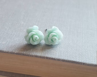 Mint Rose Stud Earrings Flower Earrings Tiny Rose Stud Surgical Steel Posts Nickel Free Gift for Her Pastel Mint Green Summer Jewelry
