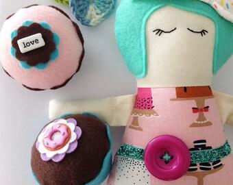 Donut Felt Cupcake - Home Decor, Gifts, Pin Cushion, Girls Room, Birthday, Favors, Bakery, Hostess, Pin Cushion, Friends