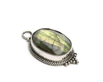 Vibrant Oval Labradorite Pendant in Sterling Silver Pendant Necklace, Jewelry for Her