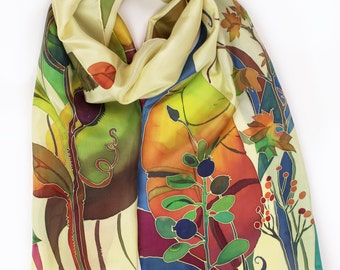 What Is Autumn Hand Painted Silk Scarf Fall Inspired Wearable Art