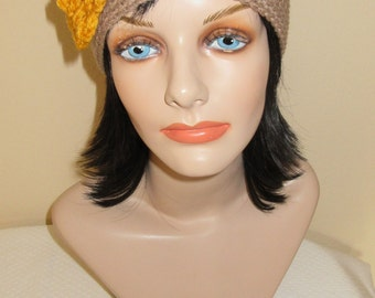 Taupe Beanie with Attached Crocheted Gold Flower, Cold Weather Hat, Flapper Hat, Women's Beanie, Ice Skating