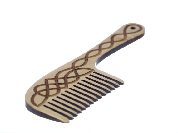 Wooden Hair Comb, Celtic Knot Laser Engraved, Solid Hard Maple, Paul Szewc