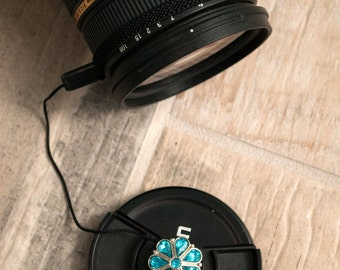 Lens Cap Holder - Camera Accessories - Digital Camera - DSLR Camera - Photographer Gift - Lens Cap Leash - Teardrop Crystals in Aqua