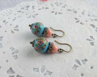 Flower Earrings, Floral Earrings, Blue Dangle Earrings, Blue Bead Earrings, Pretty Earrings, Victorian Earrings, (Clip On Earrings Option)