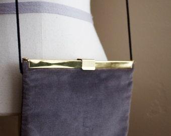 Vintage   Grey Velvet and Gold   Crossbody   Handbag   Harry Levine   1960s
