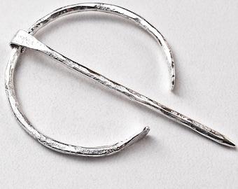 "Sterling Silver Penannular Fibula Handmade Viking Cloak Pin Brooch Smaller Size ""A"" 8 Gauge"
