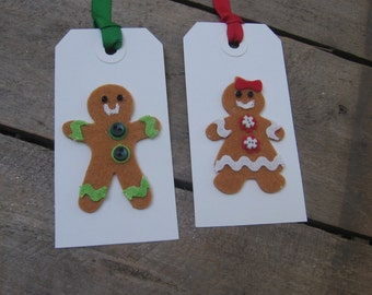 Gingerbread Boy Girl Tags, Christmas Gift Tags, Set of 4, Holiday Gift Tags, Gift Wrap, Gift Embellishment, Boy Girl Tags SnowNoseCrafts