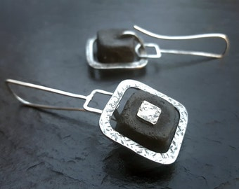 Eclipse:  Square mixed materials earrings, primitive tribal chic
