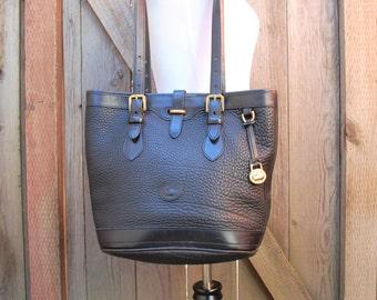 Vintage Dooney and Bourke Pebbled All Weather Leather Black and Gold Satchel Tote Bag Shoulder Bag Purse Bucket Stewardess Hipster Designer
