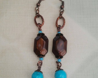 Ayla's Bead Creations Turquoise  oval copper earrings