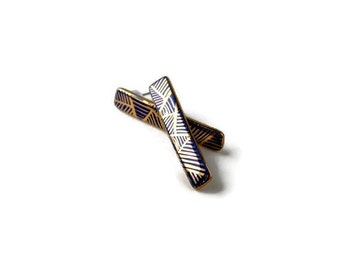 Night blue - long stud post earrings - porcelain and gold jewelry - geometric porcelain long bar earrings