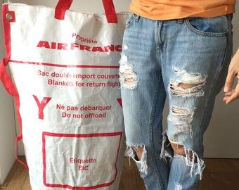 Air France Blanket for Return Flights Eco-Friendly Reusable 43 Inch Luggage Bag