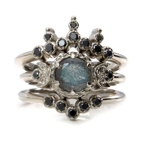 Queen of the Night Labradorite Engagement Ring Set with Nesting Black Diamond Wedding Bands