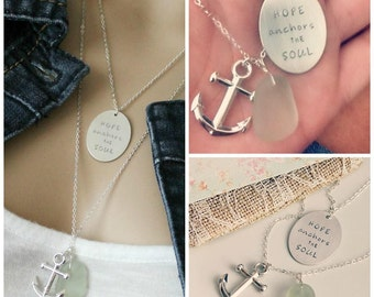 Genuine Sea Glass Necklace with Anchor Charm, Hope Anchors the Soul quote charm, two necklaces for layering
