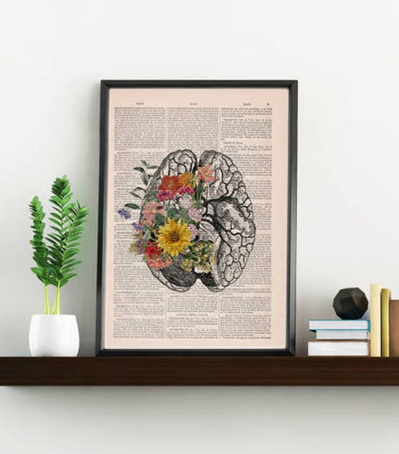 Springtime Mind Decorative Art, Flowers on Brain,Nature Inspired Print, Decorative Art, Wall hanging print, Brain Art flowers SKA140
