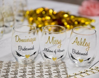 Personalized Bridesmaid gift idea, stemless glasses. Wine glasses, maid of honor gifts, bridesmaids gifts, house party, wedding party gift