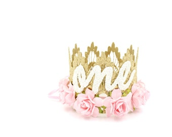 First Birthday crown cursive ONE || mini Sienna gold || baby pink flowers lace crown headband ||photography prop